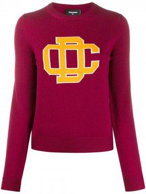 Вязаный свитер с логотипом Dsquared2. Цвет: красный