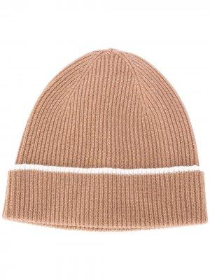 Кашемировая шапка бини с контрастной отделкой Eleventy. Цвет: коричневый