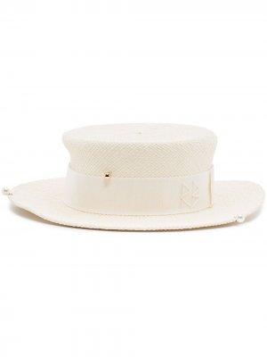 Шляпа канотье с цепочкой Ruslan Baginskiy. Цвет: белый