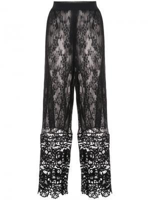 Широкие кружевные брюки Anna Sui. Цвет: чёрный