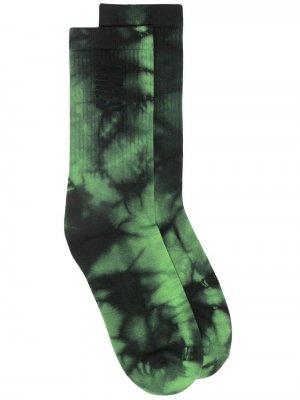 Носки с принтом тай-дай и логотипом Aries. Цвет: зеленый