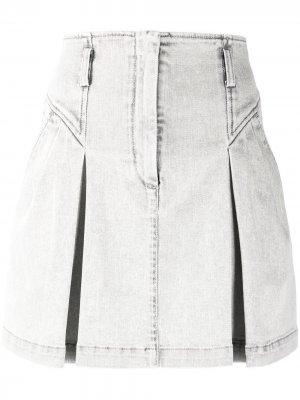 Джинсовая юбка мини со складками Alberta Ferretti. Цвет: серый