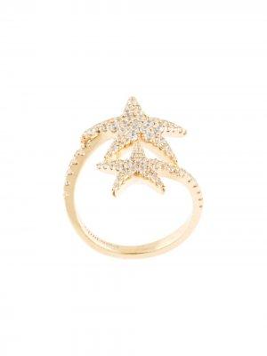 Серебряное кольцо с декором в виде морской звезды APM Monaco. Цвет: золотистый