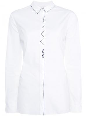 Рубашка с принтом в виде зигзагообразной линии Vionnet. Цвет: белый