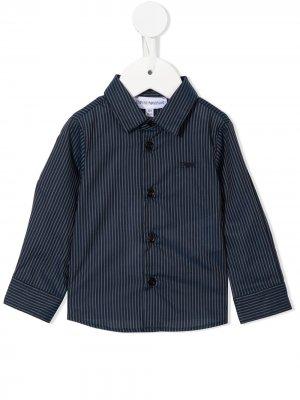 Полосатая рубашка с вышитым логотипом Emporio Armani Kids. Цвет: синий