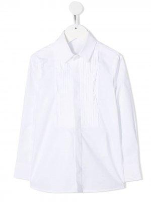 Платье-рубашка с манишкой Monnalisa. Цвет: белый