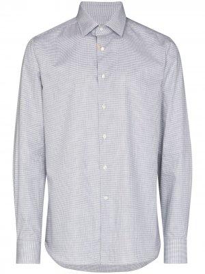Рубашка в ломаную клетку Canali. Цвет: серый