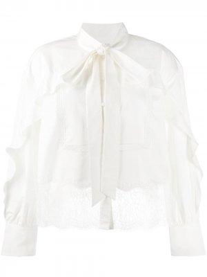 Блузка с кружевом Self-Portrait. Цвет: белый