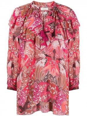 Блузка с завязками и принтом пейсли Chufy. Цвет: красный