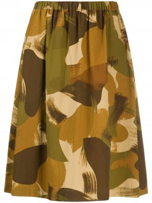 Юбка с камуфляжным принтом YMC. Цвет: коричневый