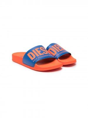 Шлепанцы с логотипом Diesel Kids. Цвет: оранжевый