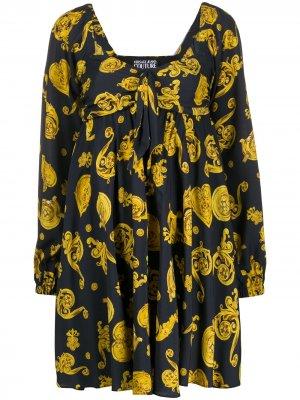 Расклешенное платье с принтом Baroque Versace Jeans Couture. Цвет: черный