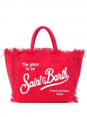 Пляжная сумка с логотипом и бахромой Mc2 Saint Barth. Цвет: красный