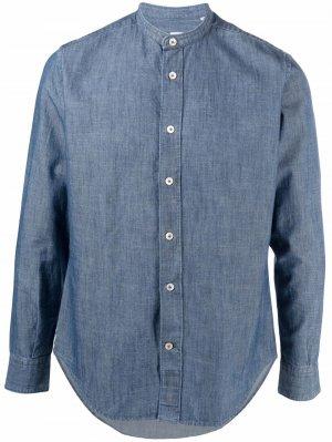 Джинсовая рубашка с воротником-стойкой Eleventy. Цвет: синий