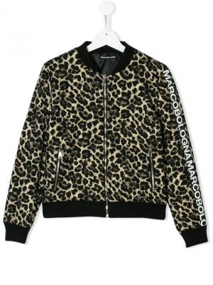 TEEN leopard print bomber jacket Marco Bologna Kids. Цвет: металлик