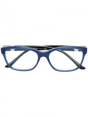 Очки в квадратной оправе Bvlgari. Цвет: синий