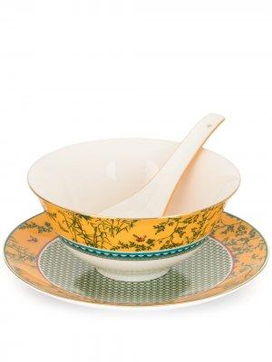 Набор Forbidden Garden из миски, блюдца и ложки Shanghai Tang. Цвет: желтый
