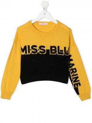 Джемпер с логотипом Miss Blumarine. Цвет: желтый