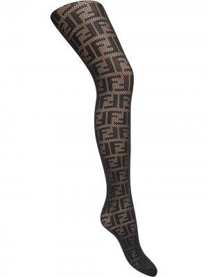 Колготки с логотипом FF Fendi. Цвет: черный