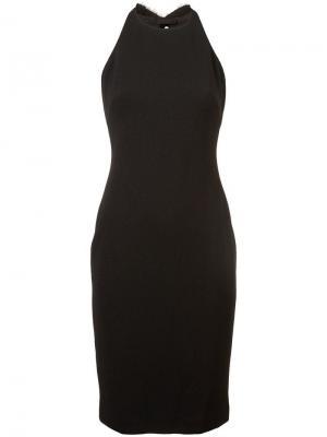 Платье-халтер с плиссированными лентами сзади Badgley Mischka. Цвет: черный
