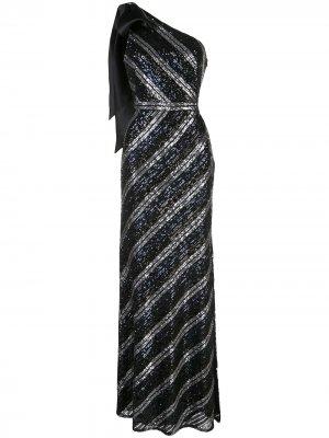 Вечернее платье на одно плечо с пайетками Marchesa Notte. Цвет: черный