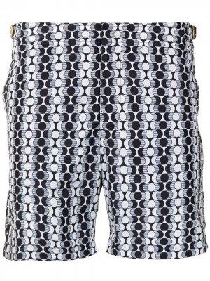 Плавки-шорты Bulldog с геометричным принтом Orlebar Brown. Цвет: черный