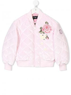 Куртка-бомбер с цветочной вышивкой Monnalisa. Цвет: розовый
