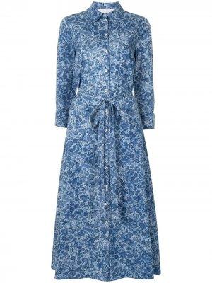 Расклешенное платье-рубашка с цветочным принтом Carolina Herrera. Цвет: синий