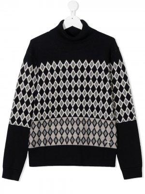 Diamond knit sweater with roll neck Chloé Kids. Цвет: синий