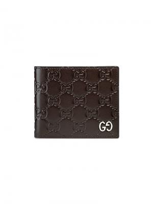 Бумажник  Signature Gucci. Цвет: коричневый