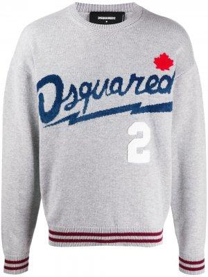 Свитер с жаккардовым логотипом Dsquared2. Цвет: серый