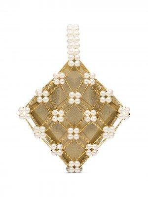 Декорированная сумка Camelia с ручкой-браслетом Vanina. Цвет: нейтральные цвета