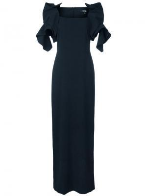 Платье-макси с оборками Badgley Mischka. Цвет: черный