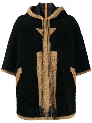 Пальто-кейп из овчины Blancha. Цвет: черный