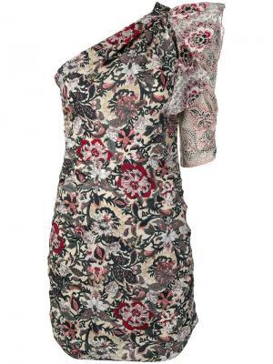 One-shoulder printed dress Isabel Marant Étoile. Цвет: нейтральные цвета