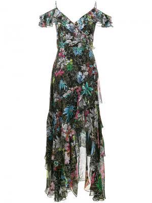 Платье из рукавов с оборками и цветочным принтом Peter Pilotto. Цвет: черный