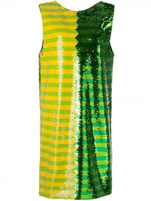 Платье мини с пайетками Halpern. Цвет: зеленый