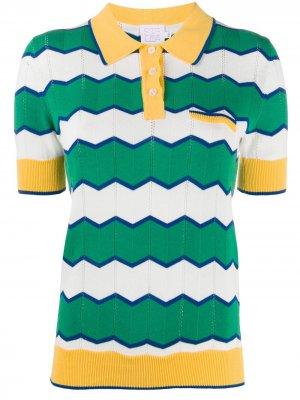 Трикотажная рубашка поло в полоску Stella Jean. Цвет: зеленый