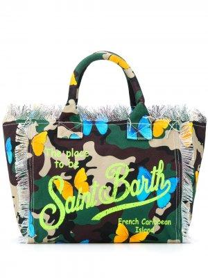 Пляжная сумка с камуфляжным узором Mc2 Saint Barth. Цвет: зеленый