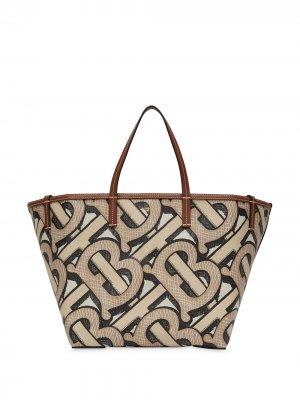 Пляжная сумка-тоут размера мини с монограммой Burberry. Цвет: нейтральные цвета