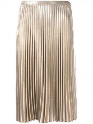 Плиссированная юбка миди с эффектом металлик Rag & Bone. Цвет: нейтральные цвета
