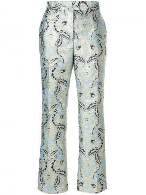 Укороченные брюки с узором MSGM. Цвет: синий