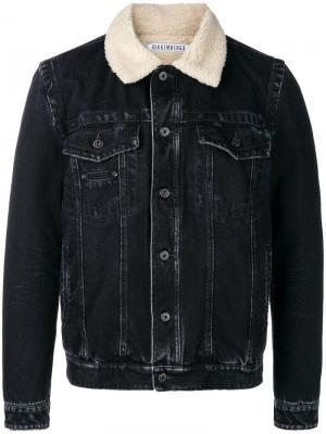 Faux fur trim denim jacket Dirk Bikkembergs. Цвет: синий