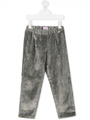 Бархатные брюки в рубчик Il Gufo. Цвет: серый