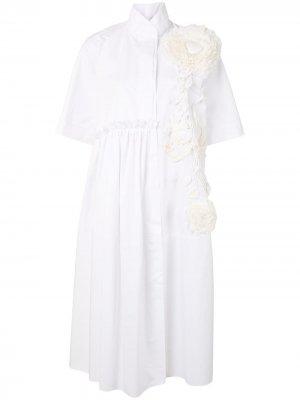 Платье с цветочной аппликацией Dice Kayek. Цвет: белый