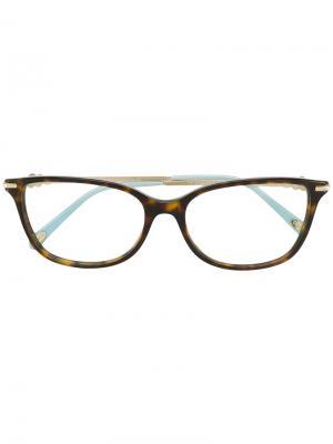 Квадратные очки с черепаховым узором Tiffany & Co.. Цвет: коричневый