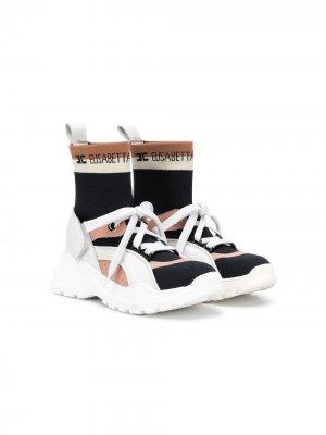 Кроссовки-носки со складками Elisabetta Franchi La Mia Bambina. Цвет: черный
