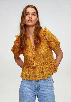Блуза Mango. Цвет: желтый