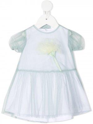 Платье с тюлем Il Gufo. Цвет: синий
