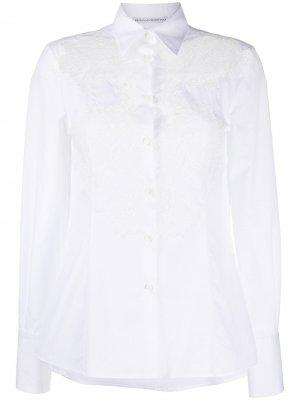 Рубашка с кружевом Ermanno Scervino. Цвет: белый